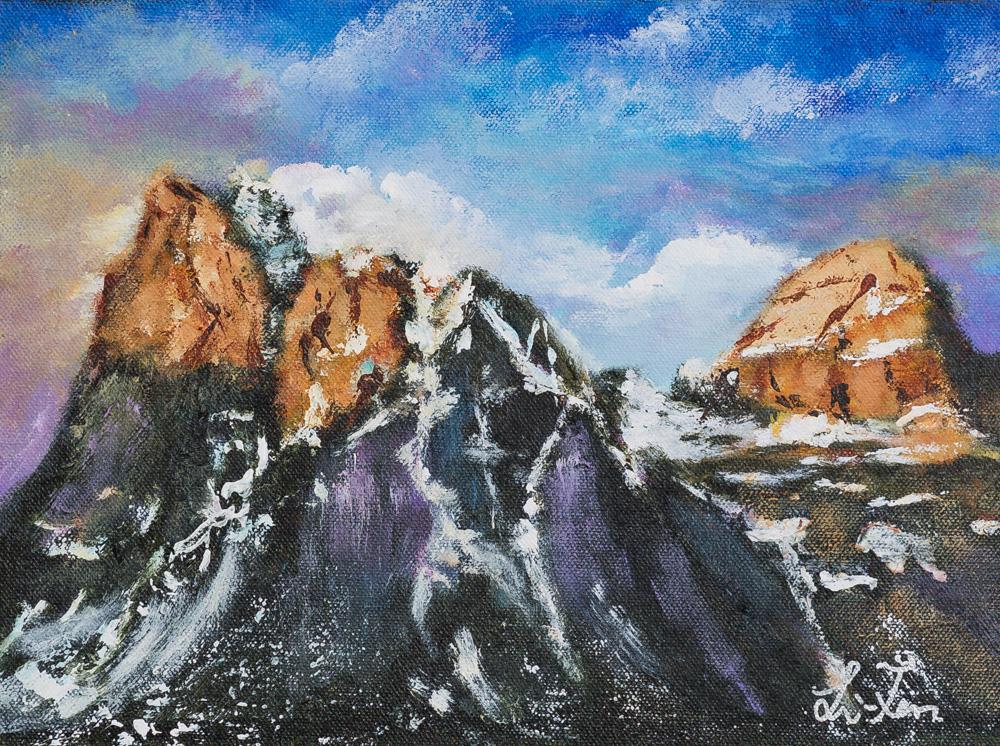 "Kiss of light Acrylic 9""x12"" Canvas $140"