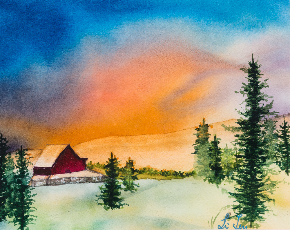 Fine watercolor art for sale - Winter Wonderland Water Color Image 8 X10 Frame 11