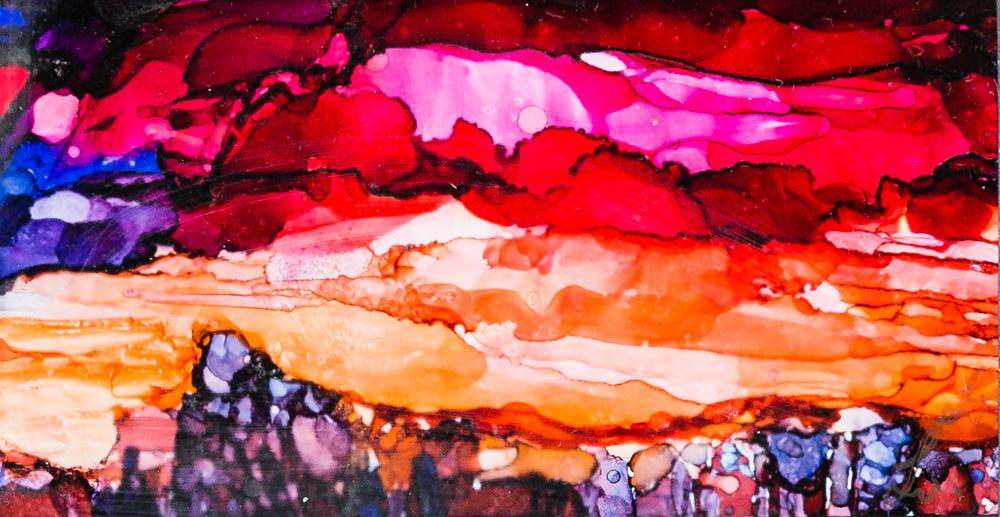 """Stunning Calgary Sunset Alcohol Ink Image: 4.5""""x6.5"""" Frame: 7""""x9"""" $75"""