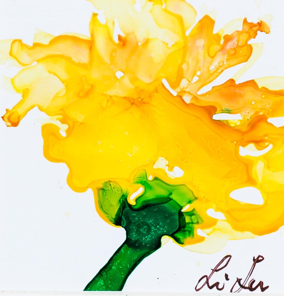 """Spring Flower Alcohol Ink Image: 4""""x4"""" Frame: 8.5"""" x 8.5"""" $45"""