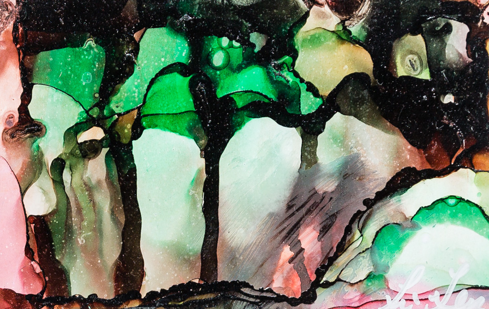 """Green Day Alcohol Ink Image: 4.5""""x6.5"""" Frame: 11""""x14"""" $75"""