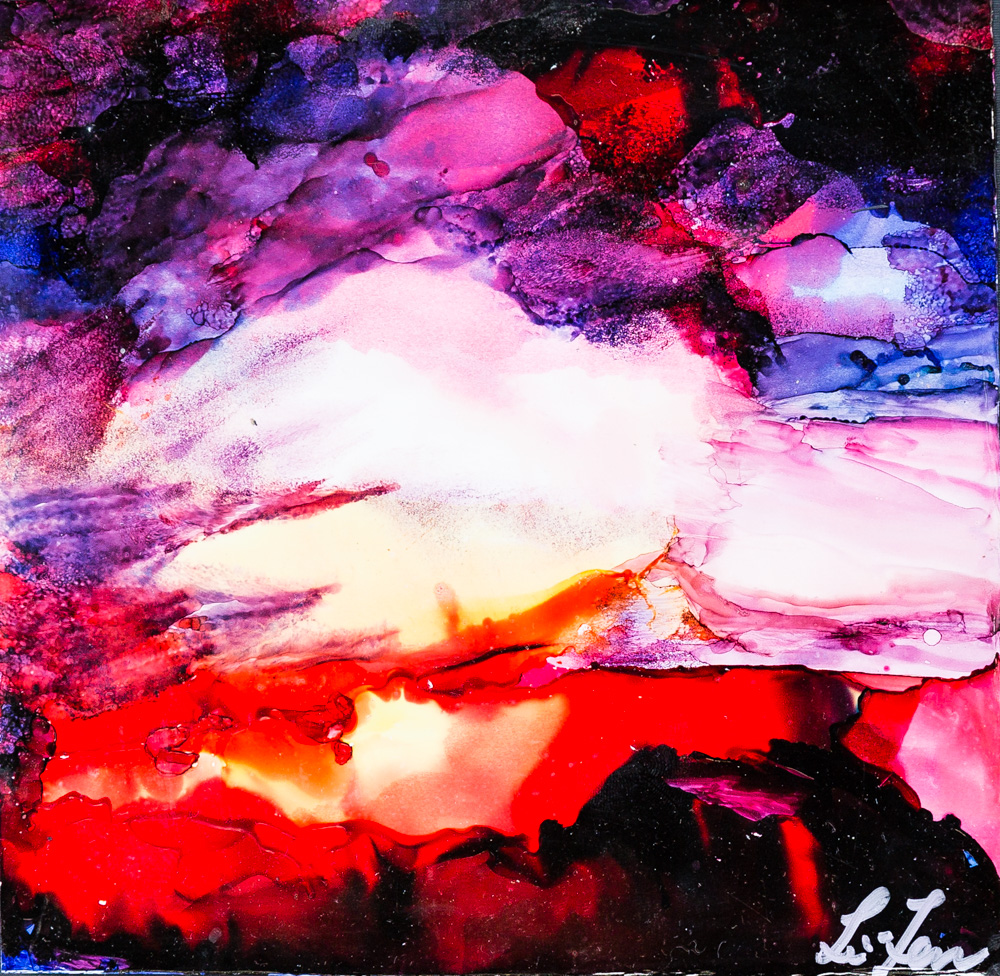 """Over in a day Alcohol Ink Image: 7""""x7"""" Frame: 8.5""""x8.5"""" $100"""