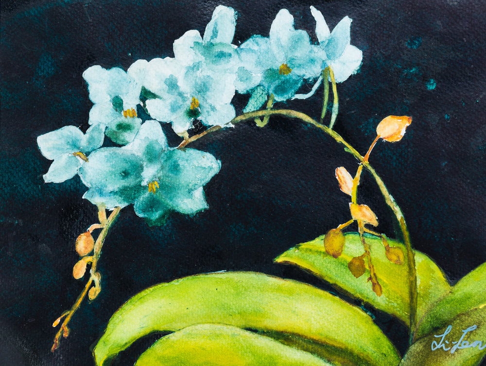 Blue Orchids Water Colour Image: 9x12 Frame: 16x20 $280