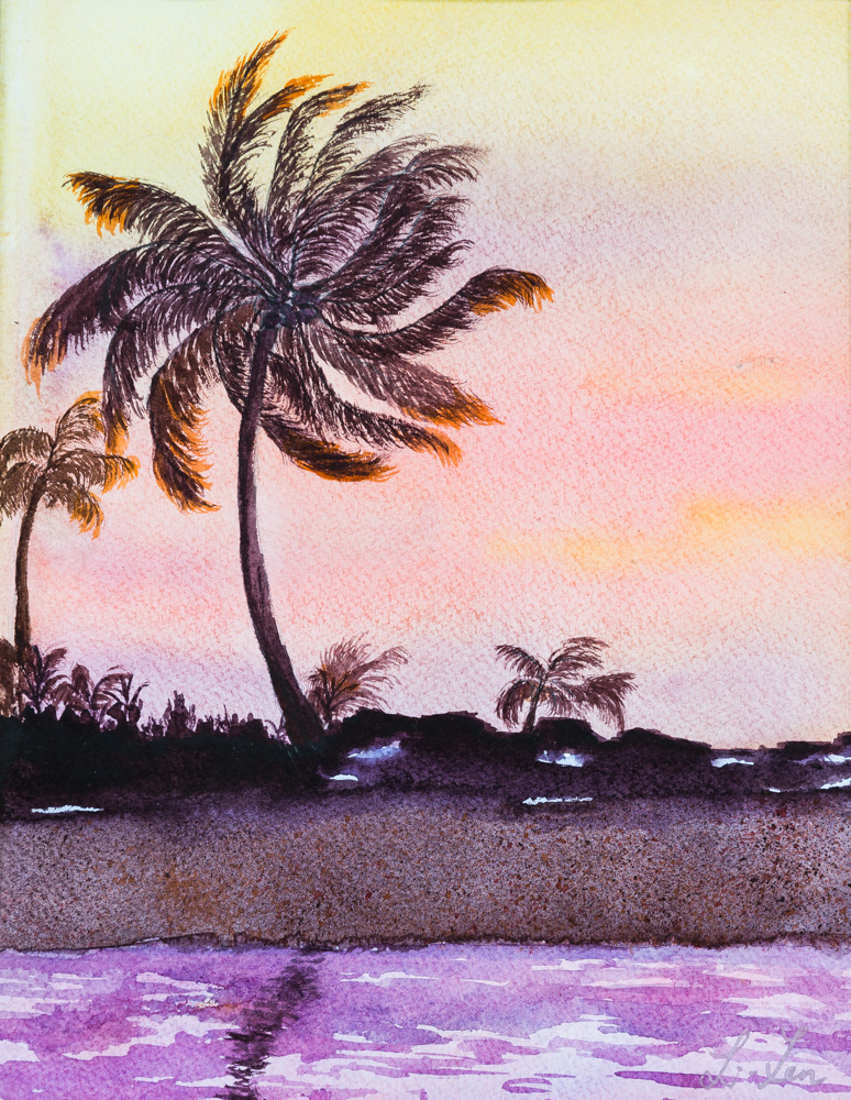 """Stunning Hawaii Sunset Water Color Image: 10""""x 14"""" Frame: 16""""x20"""" $290"""