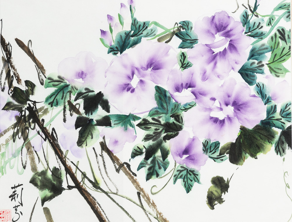 """Morning Glory Water Color Image: 10""""x 14"""" Frame: 16""""x20"""" $280"""