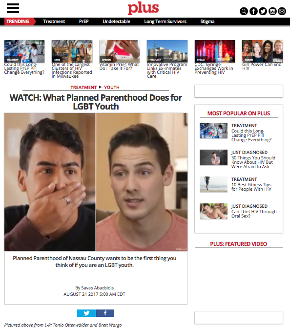 CHS garnered key press that generated traffic to the campaign, and increased awareness of PPNC's services - Click to read: The Long Island Herald, HIV PLUS. Pride.com