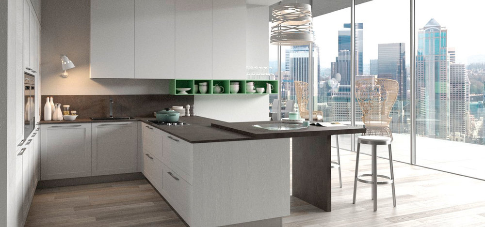 A beautiful kitchen with an equally breathtaking view…
