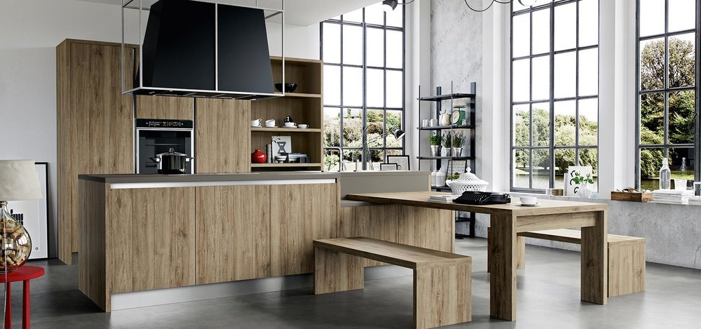 Bench style seating, an ideal choice for casual dining in an open plan kitchen.