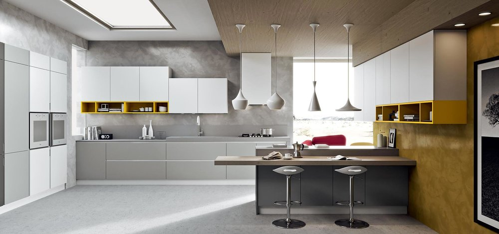 consider dedicated seating into your kitchen design, such as a breakfast bar or an easy sofa area.