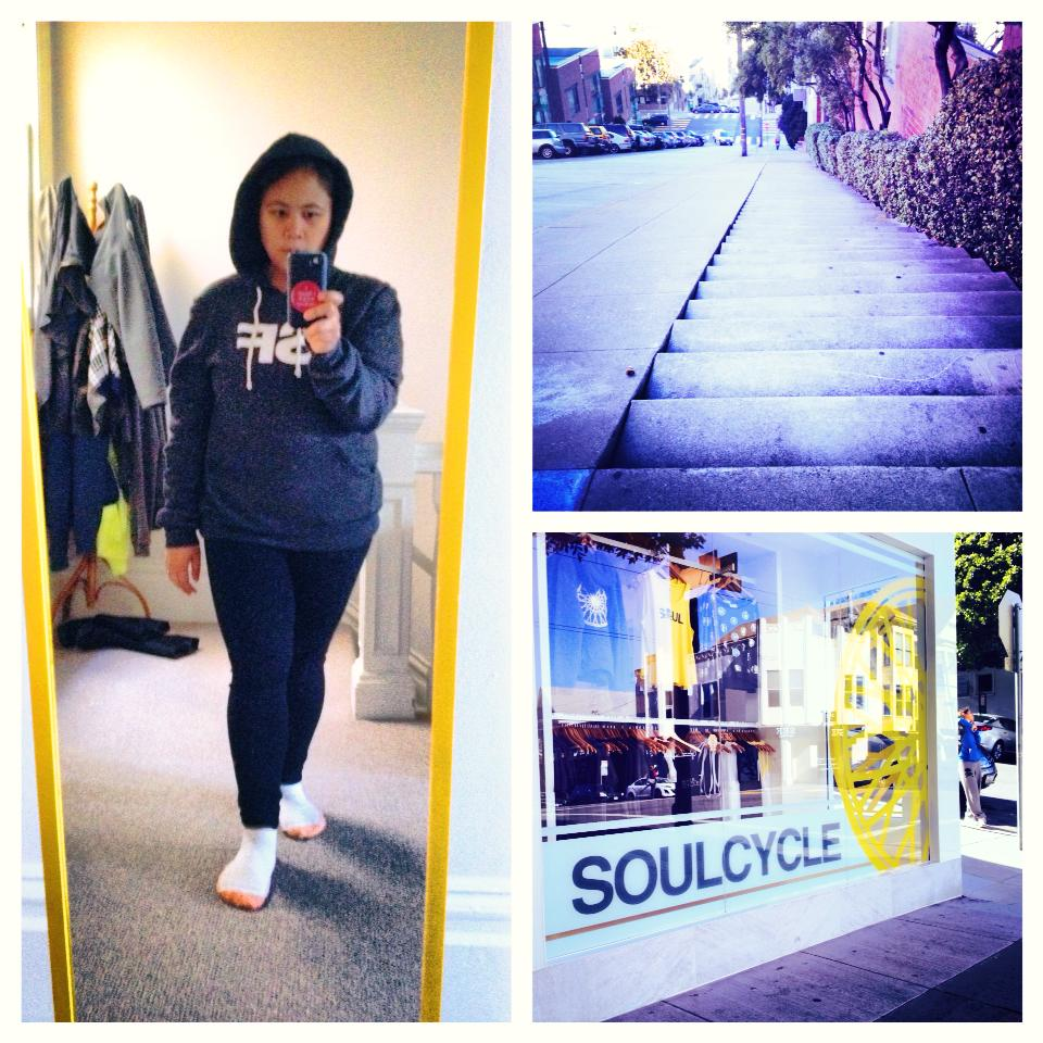 "3.5 mile run + 90 minute soulcycle class =  Me: ""I'm going to fall asleep in the tub."" Sadia Harper: ""Please don't die."""