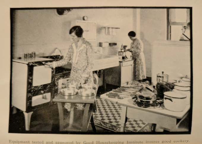 "Testers at the Good Housekeeping Institute, from p. 1, captioned, ""Equipment tested and approved by Good Housekeeping Institute insures good cookery."""
