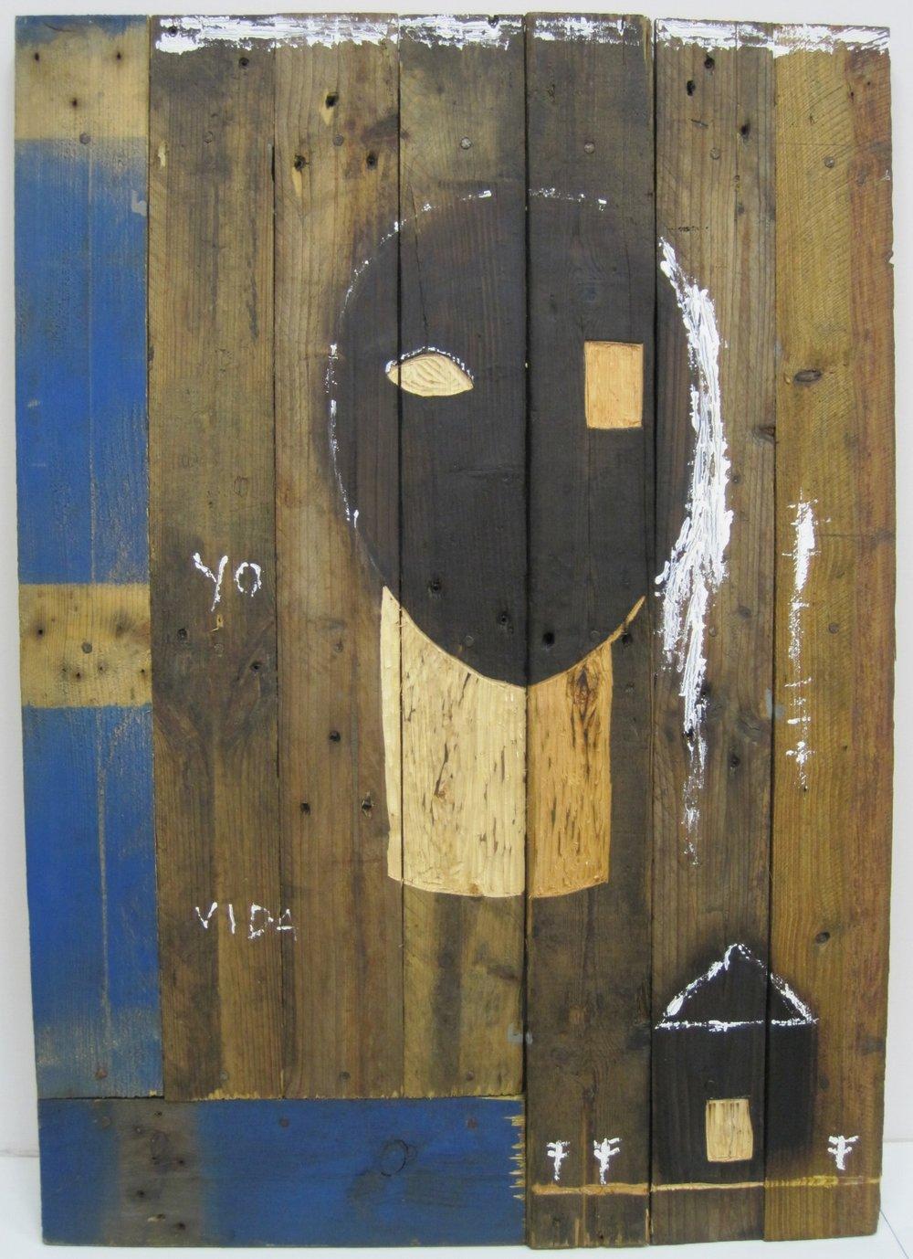 Mi Casa y Yo 2009, Mixed media on wood 39 x 27 inches