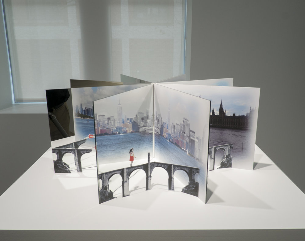 Puentes 2012, Book object, mirrors, digital prints, 11x28 inches 11 x 28 in.