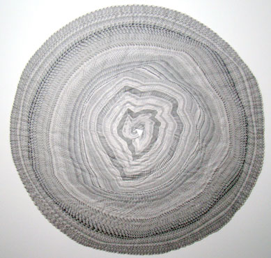 Tree Rings Dating 253 Rings  2010, Newspaper collage  59 x 59 inches