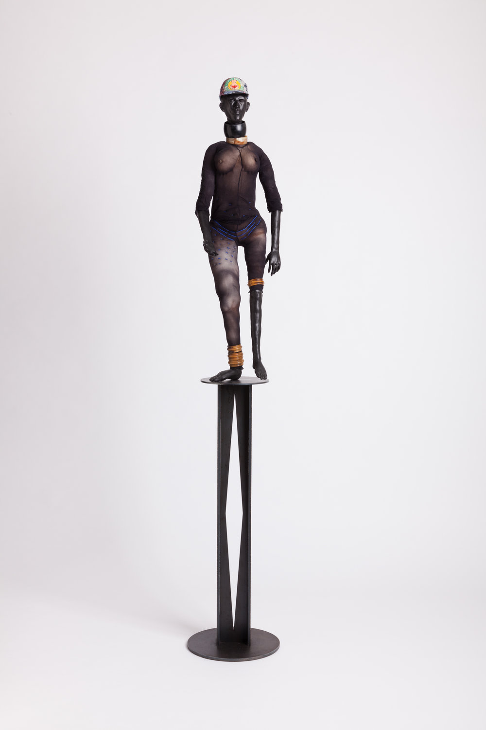 Step Off  2014, Modelling material, fabric, wood, paint and steel  39 3/4 x 11 3/4 x 13 3/8 inches