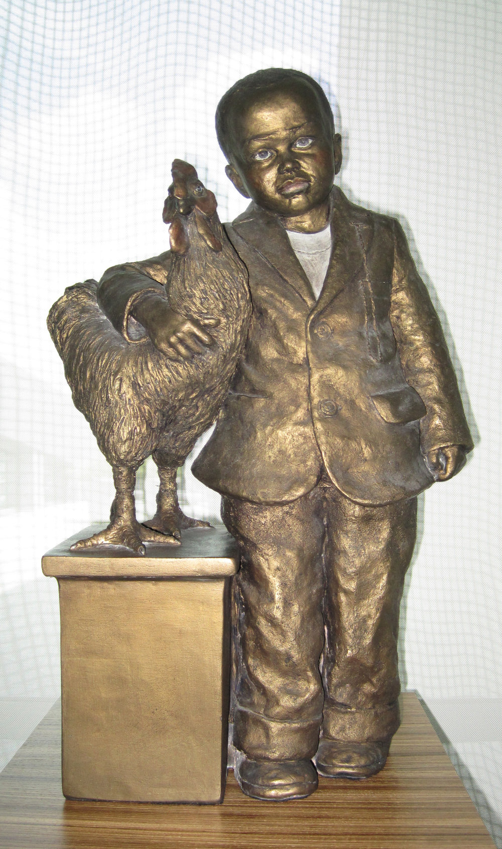 Boy with a Rooster  1994, Clay  25 1/2 x 18 x 9 inches
