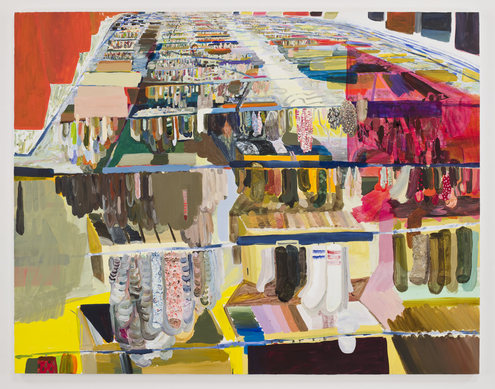 The World's Largest Sock Market  2008, Acrylic on linen  67 x 86 5/8 in.