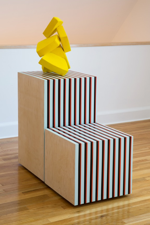 Yellow Pile and Stripes  2013, Aqua resin, foam, acrylic, enamel, flocking, wood  49 x 38 3/4 x 18 in.