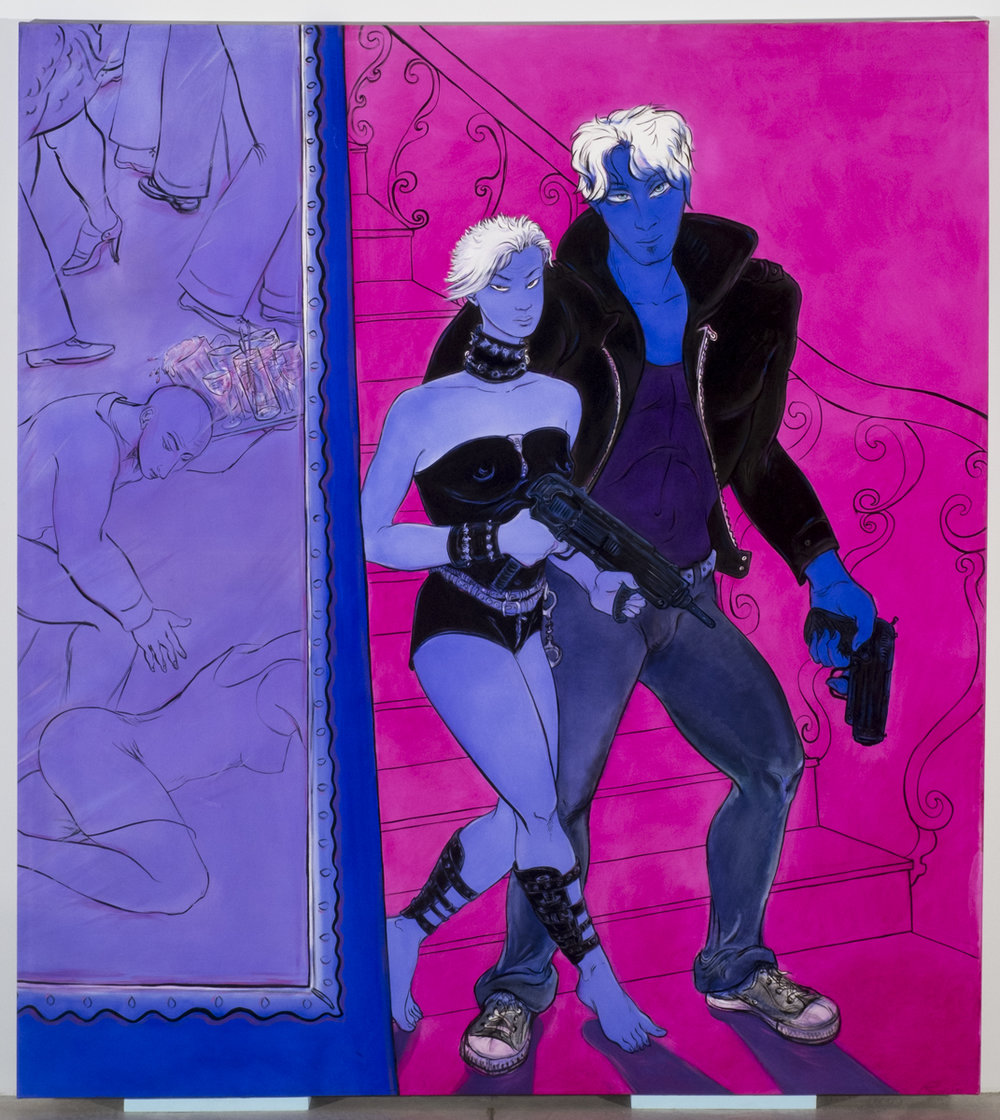 Lin Chen and Borishka arrive  2009, Oil on canvas  78 3/4 x 70 1/2 inches