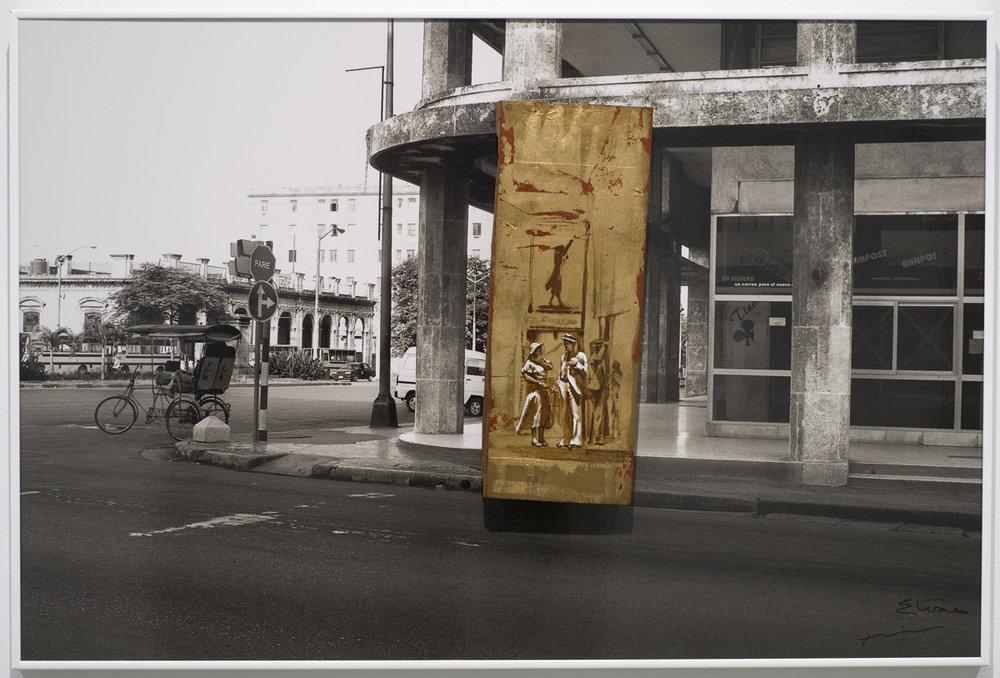 Belascoain y Carlos 2009, Photograph, gold leaf on wood 20 x 29 3/4 in.