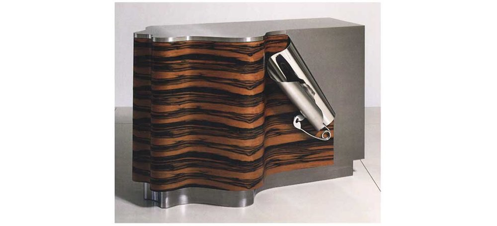 Drape Cabinet 2005, Stainless steel ebony macassar, palmwood 35 1/2 x 54 1/4 x 25 in.