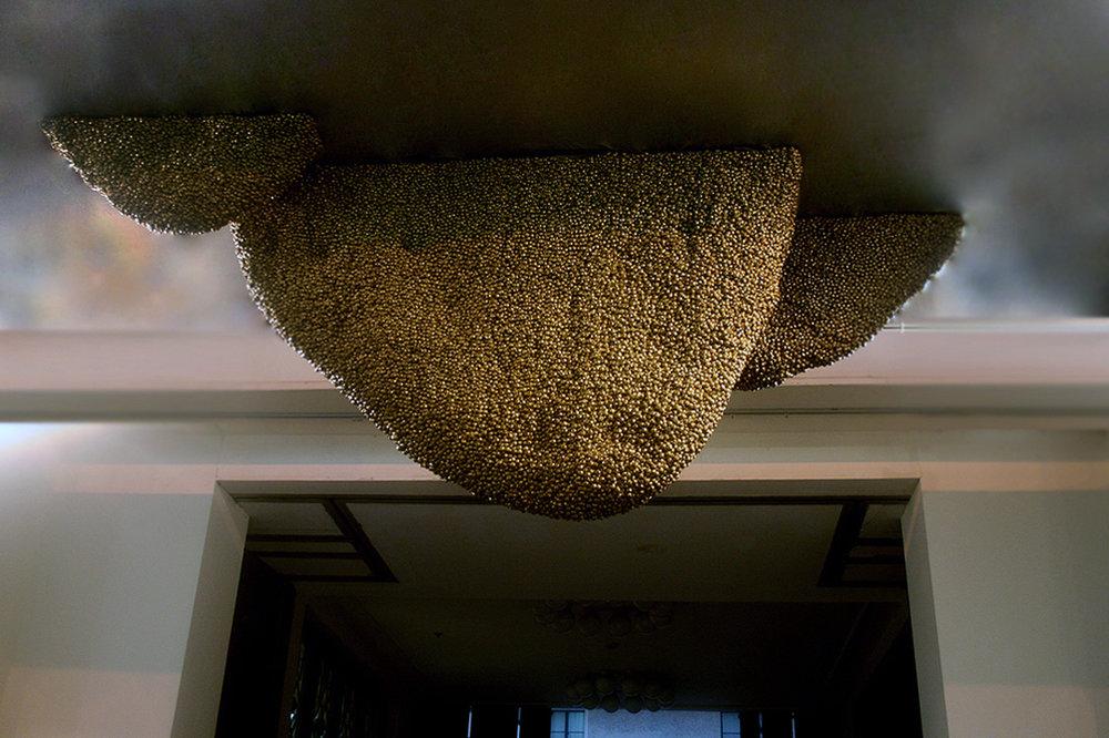 Beehive, 2006-2008 Brass gungroos (trinklets), babric, wood and steel 48/ x 78 x 16 in.