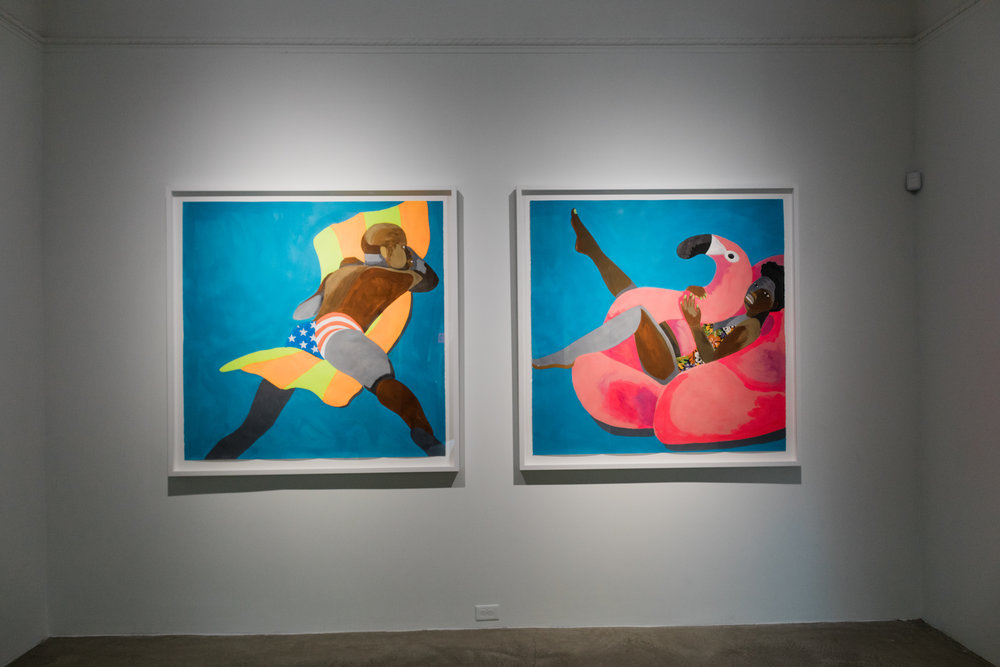 "Derrick Adams, ""Floater No. 19"" and ""Floater No. 17"" from the GO FIGURE exhibition."