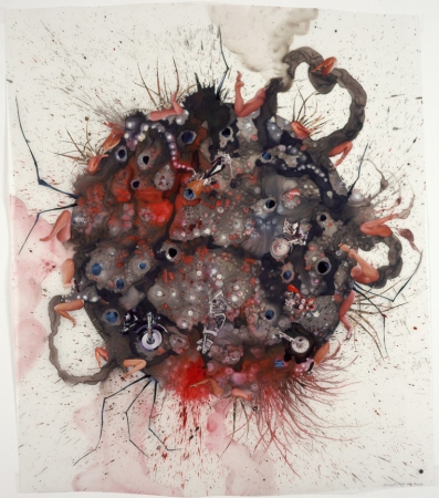 Wangechi Mutu (b. 1972, Nairobi; based in Brooklyn).  Untitled from Tumors , 2004. Acrylic, ink, collage, and contact paper on Mylar, 49 x 42 in. Pizzuti Collection. © Wangechi Mutu. Image courtesy the artist and Gladstone Gallery, New York and Brussels