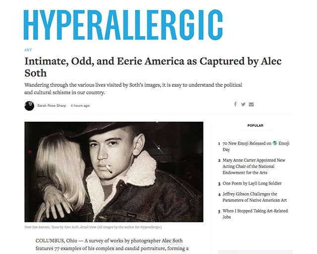 "Thank you Sarah Rose Sharp and @hyperallergic for this comprehensive and in-depth review of our current ALEC SOTH exhibition, on view through August 12. Learn more about Alec's projects and work that ""manage[s] to capture, collectively, a portrait of a nation."" Read the review here: https://tinyurl.com/yaxbf4te #contemporaryart #alecsoth #photography #documentaryphotography #photo #americanlife #littlebrownmushroom #magnumphotos #artmakescbus"