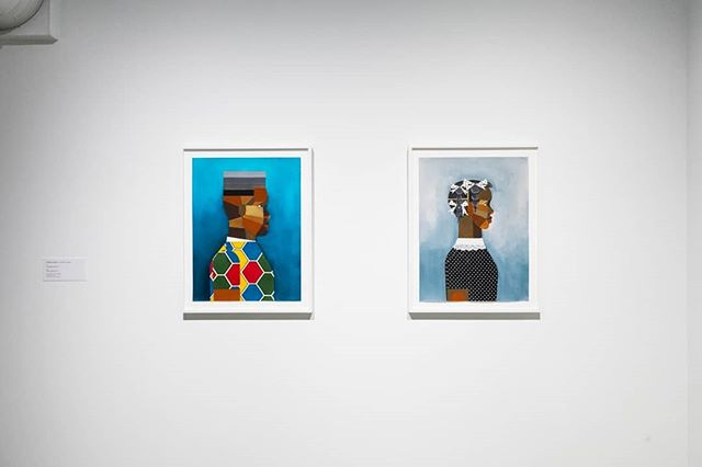 """Derrick Adams' colorful portraits, """"Young Man In Blue"""" (left) with """"Girl In Soft Blue,"""" right) from our current GO FIGURE exhibition. GO FIGUREshows us how bodies are always bigger, more complex, more layered, and more composite than we can ever see. We are open today from 12pm-5pm and hope you will come see GO FIGURE before it closes on August 12. #contemporaryart #derrickadams #portraiture #portrait #collage #lifeincbus #expcols #artmakescbus"""