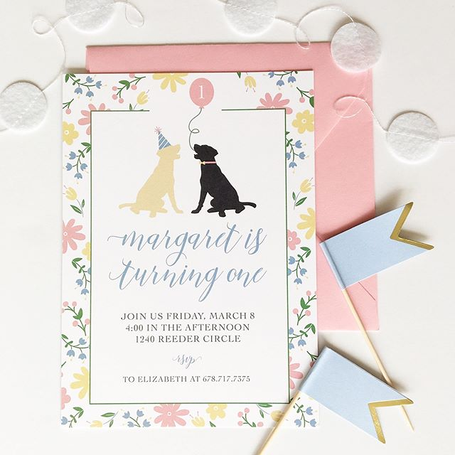 "I'm not supposed to have favorites, BUT as of right now, this first birthday invitation might take the cake. My client didn't have too many ideas for the invitation design but showed me some fabric bunting she was using for the party and told me her daughter loved their dogs. Going off of that inspiration, I was able to design a floral pattern that coordinated with the fabric bunting she had already purchased and made sure the dogs were ready to celebrate with a party hat and balloon to boot! 🥳⠀ ⠀ This is just one of many reasons I will always love custom design! It gives me the opportunity to work with a client and their inspiration... whether it's a small fabric swatch or a Pinterest board that's been years in the making!⠀ ⠀ If you're ready to work together to design something that is ""just right"" for your celebration, comment below or hop over and send me a DM! I'd love nothing more than to work with you! If working one on one with a designer makes you nervous, let me know because I'd love to address some of those hesitations or common misconceptions! 💕"