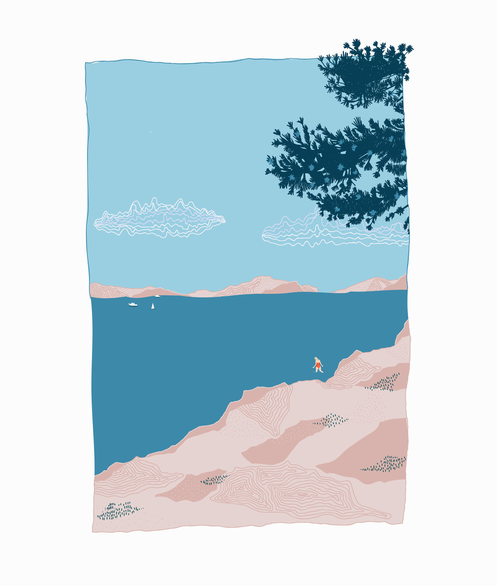 Dugi otok - Motivated by the exquisite colour palette of the Dalmatian coast in Croatia; where the blue brilliance of the sky is rivalled only by the water below. Exploring the relationship between strong, block colour and gentle use of pattern.
