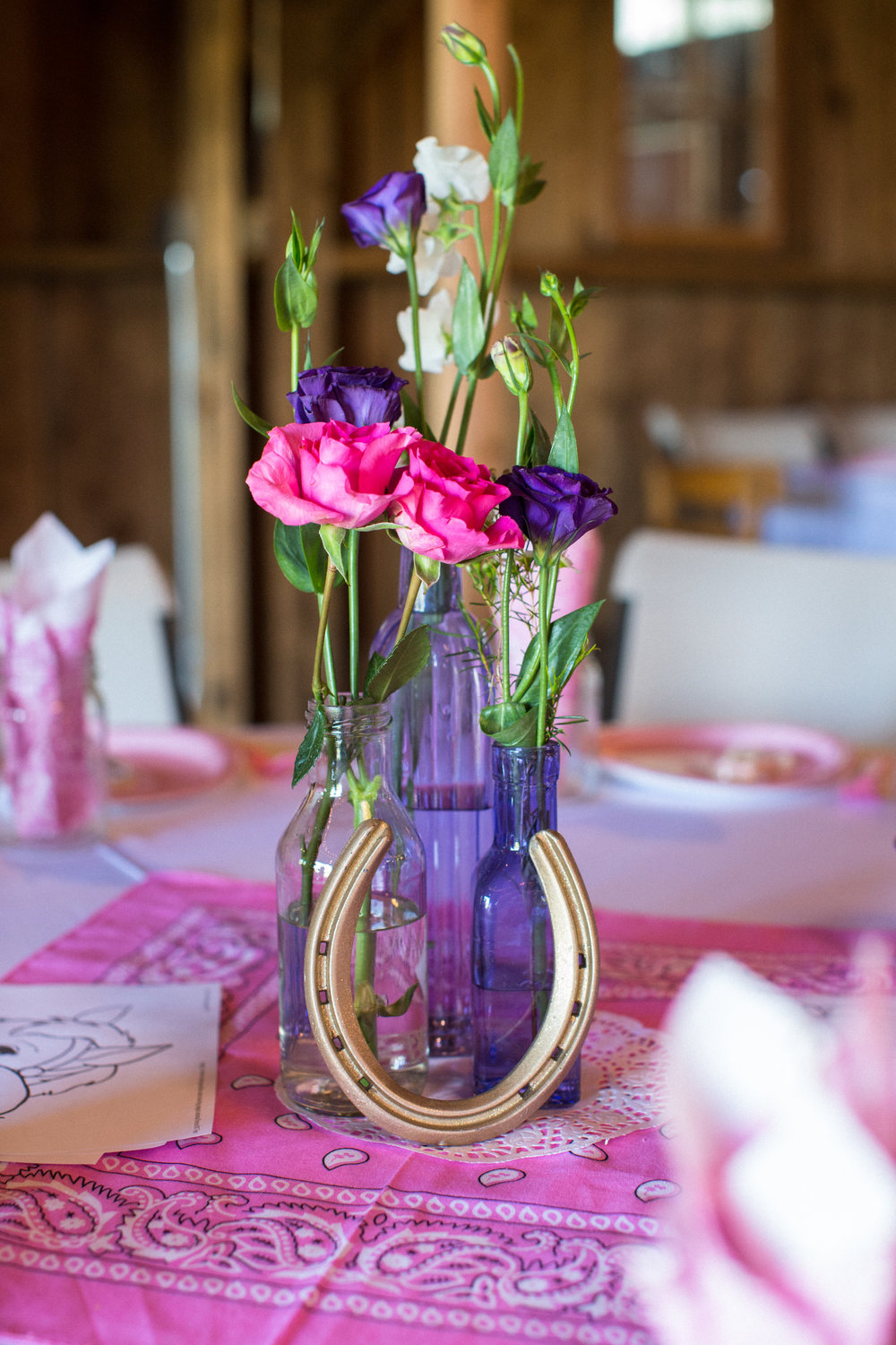 Cowgirl birthday party centerpiece