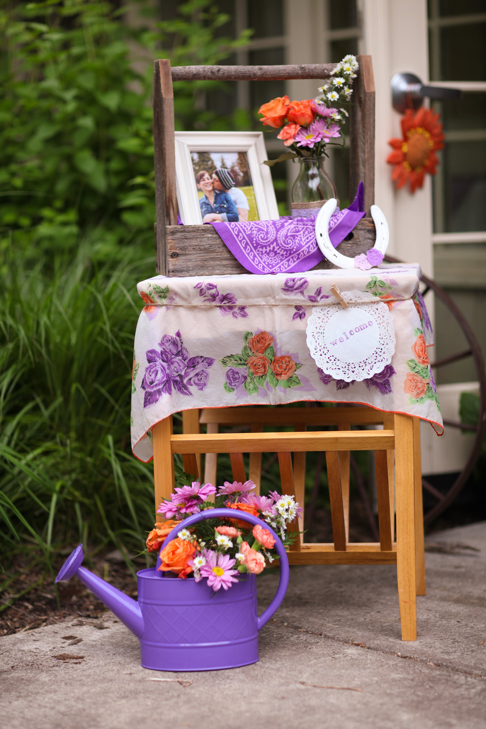 owerRustic purple and orange bridal shower