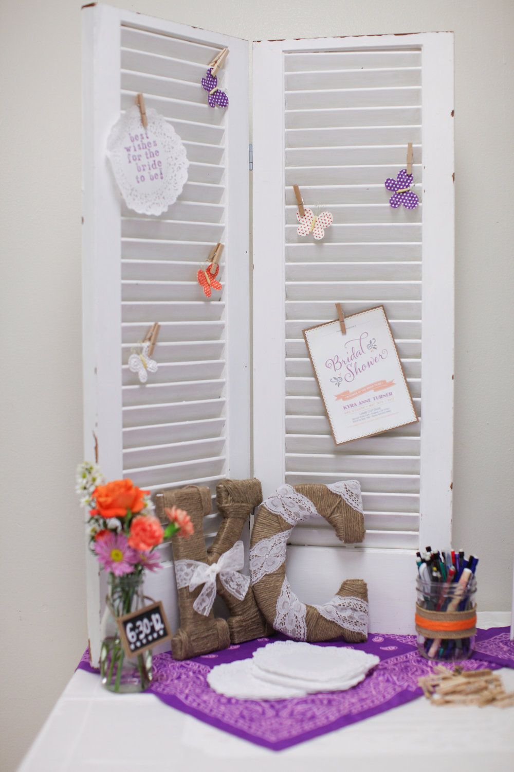 Rustic bridal shower decor guest book