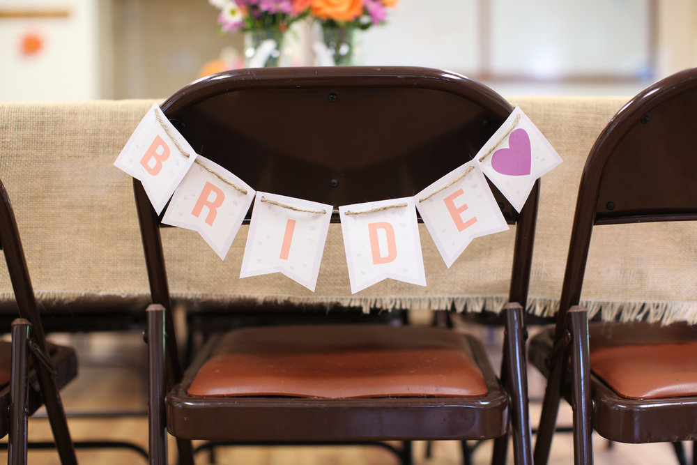 Rustic bridal shower decor bride sign