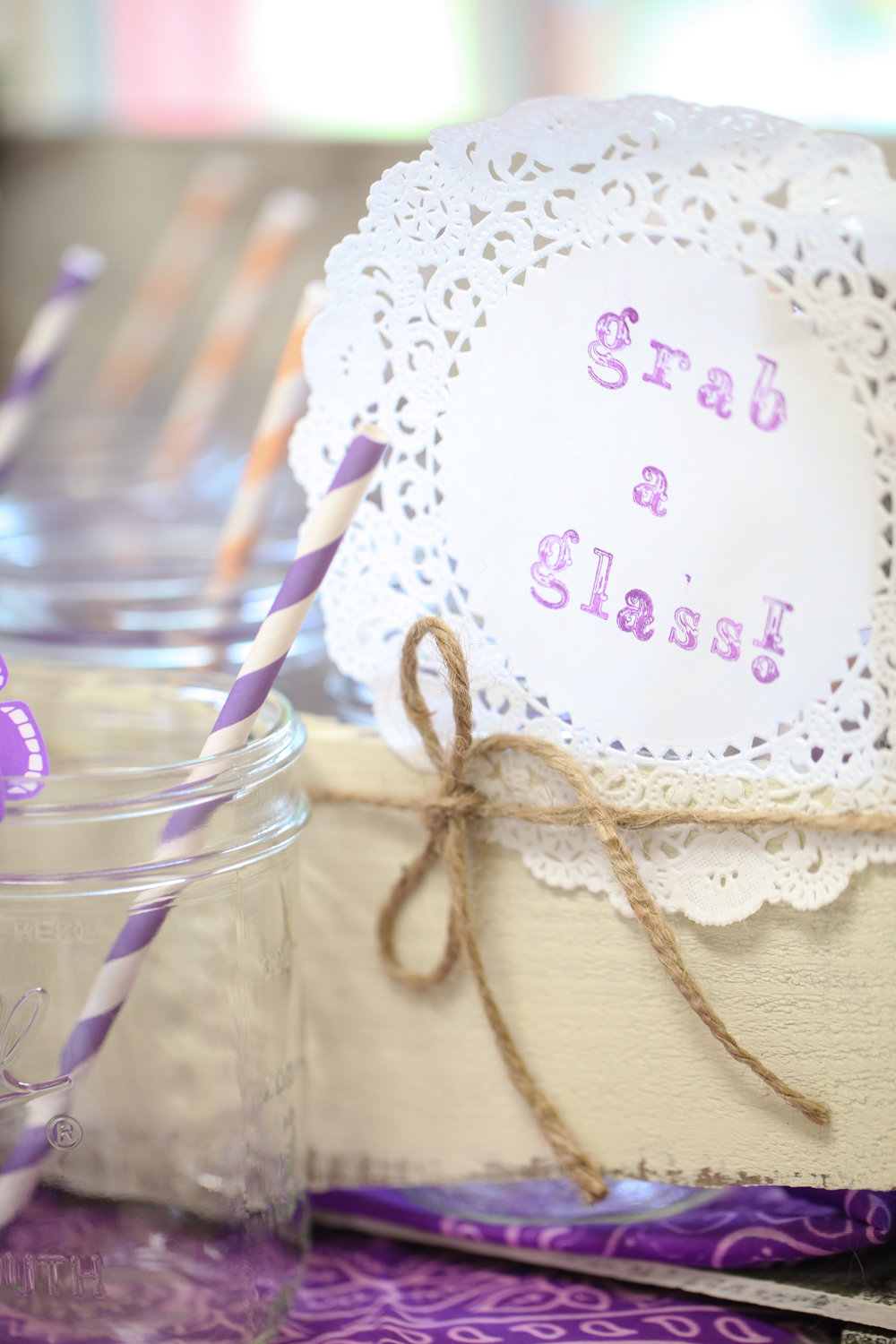 Mason jar drink glasses bridal shower