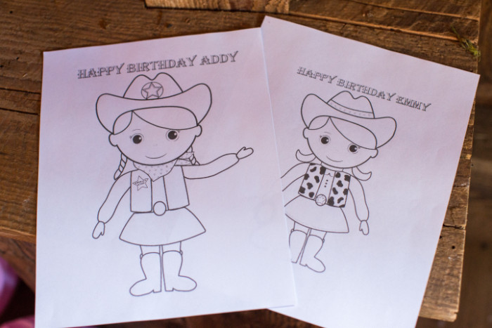 A friend of mine customized these coloring pages for the girls, how cute are these!? Addy loved having her own custom coloring page!