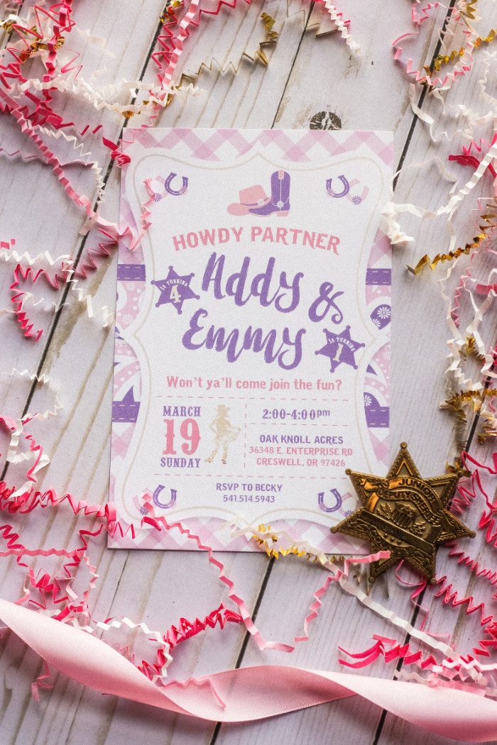 pink and purple cowgirl party birthday invitation