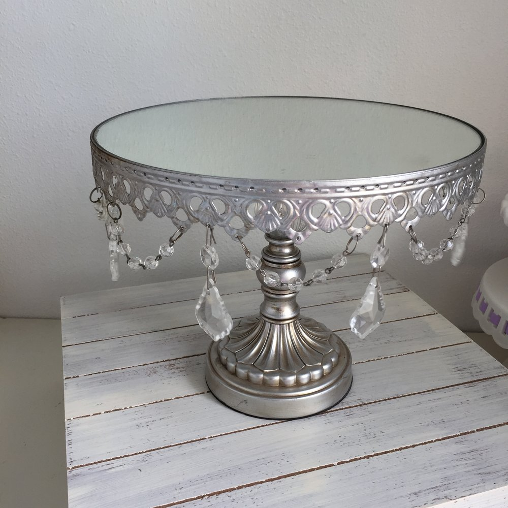 Silver and crystal pedestal with mirror top