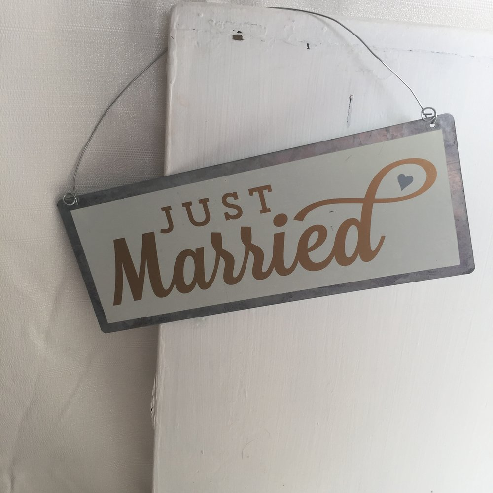 Just Married Metal Sign