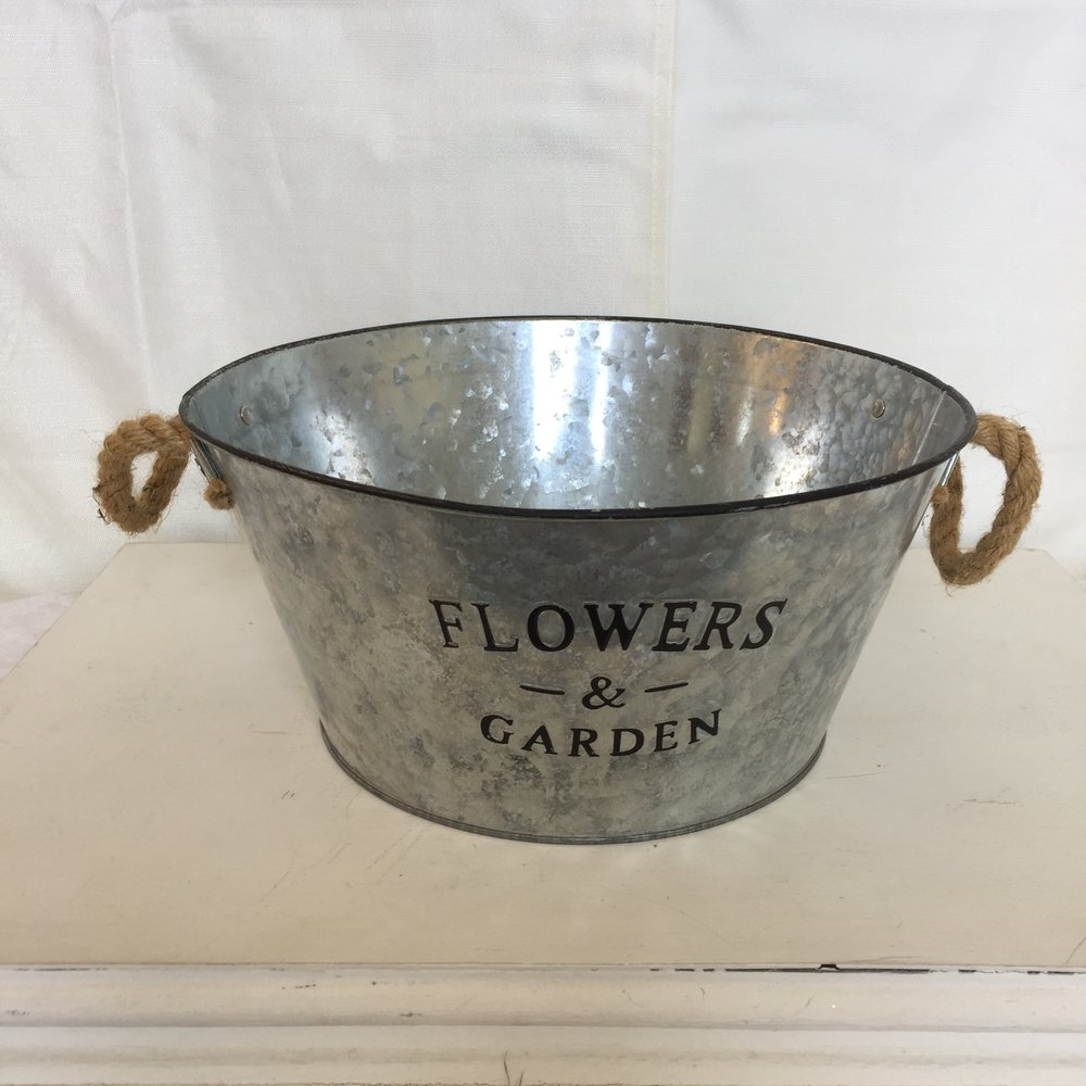 Galvanized bucket w/ handles