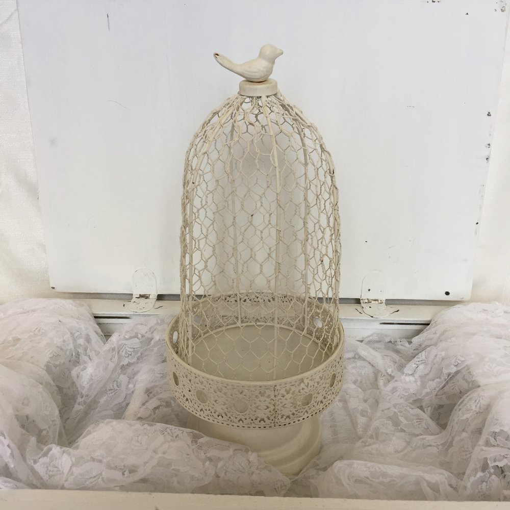 Light yellow birdcage/pedestal