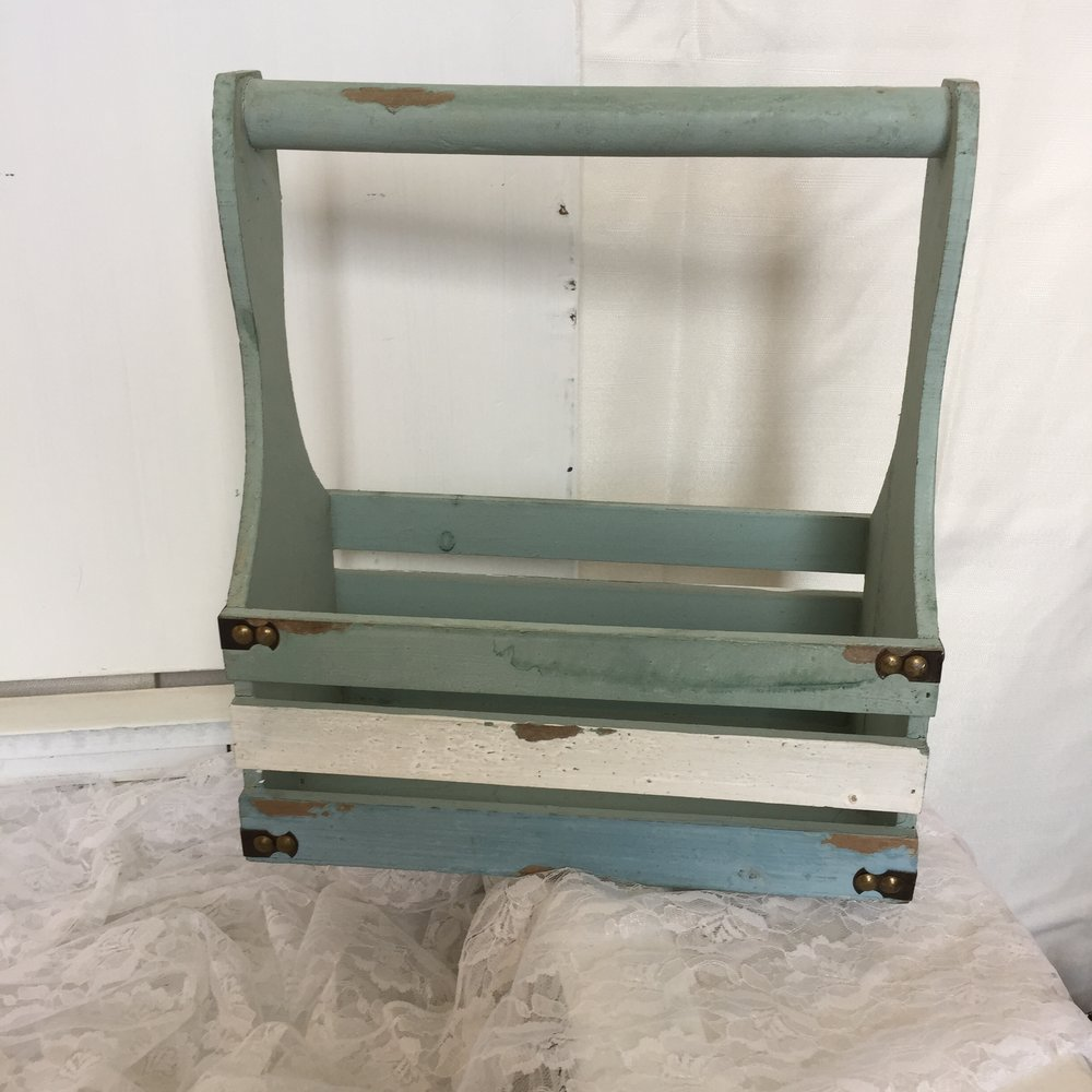 Rustic teal/blue crate