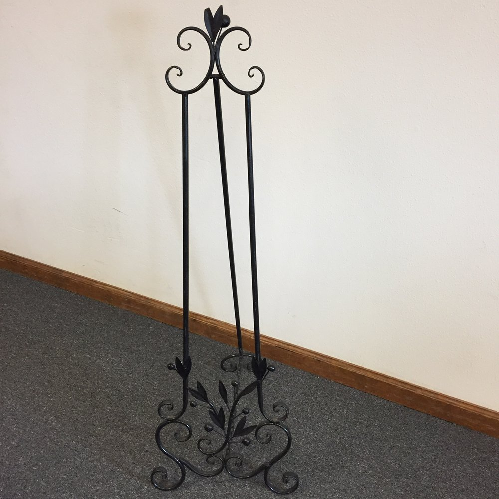 Large black metal easel