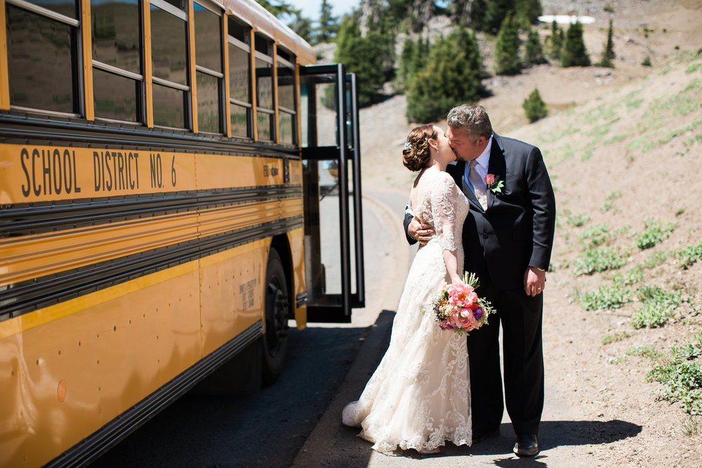 After the ceremony, guests rode on a First Charter school bus to the reception site at Diamond Lake. It brought back memories for guests for sure!