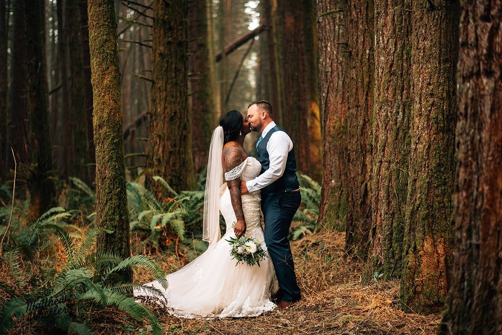 September was my busiest month of the year, with 5 weddings and 1 corporate event! I started off September with Jade and Nick's wedding at Deep Woods in Elmira - you can see from the photo why it's called Deep Woods, the setting is incredible! Jade and Nick came up from California to celebrate here in Oregon where Nick's family lives. Jade envisioned a romantic fairytale reception in the woods complete with teacups, vintage books, and moss, and I loved seeing everything come together. They have the sweetest little family and their two sons were the cutest ring bearers ever!  Photo by Matthew Wheeler Photography