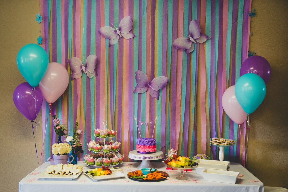 Spring Birthday Party Cake Table