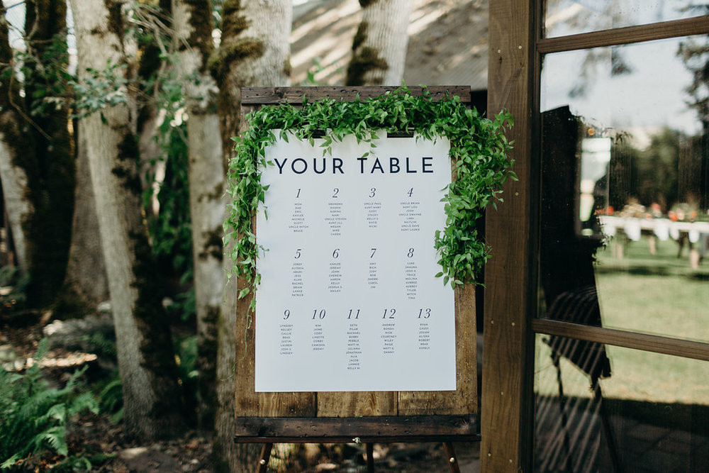 Simple rustic seating chart