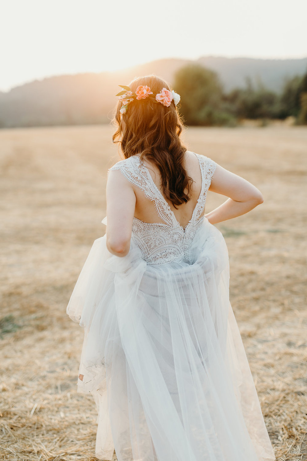 golden hour bridal photos